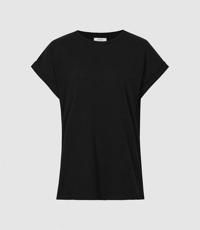 Tereza Black Cotton-Jersey T-Shirt – REISS
