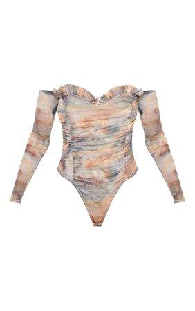 Renaissance Printed Mesh Bardot Bodysuit | PrettyLittleThing USA