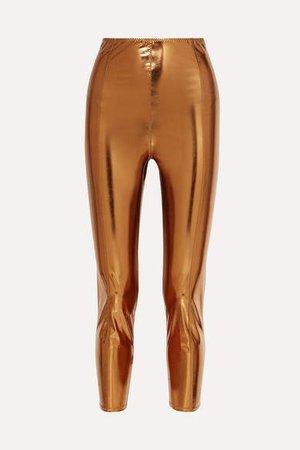 Karlie Metallic Stretch-pvc Leggings - Bronze