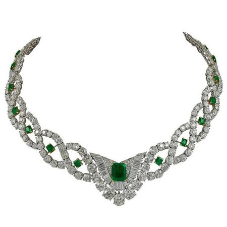 Cartier Diamond Emerald Necklace For Sale at 1stdibs