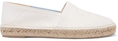 Edie Collapsible-heel Logo-embossed Leather Espadrilles - Off-white