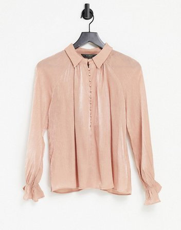 Lipsy textured satin blouse in pink | ASOS