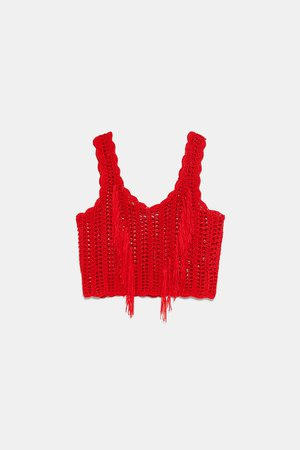 FRINGED CROCHETED TOP - STARTING FROM 70% OFF-WOMAN-SALE | ZARA United States red