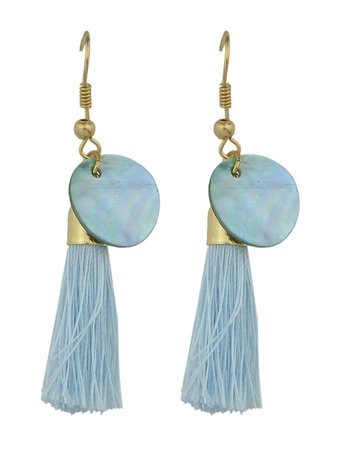 Blue Color Thread Tassel Chain Women Earrings