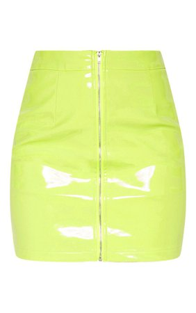 Neon Lime Vinyl Mini Skirt | Skirts | PrettyLittleThing USA