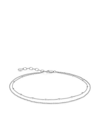 Shop silver Monica Vinader Double Chain anklet with Express Delivery - Farfetch