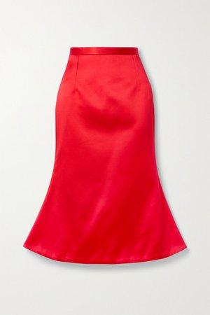 Duchesse-satin Midi Skirt - Red
