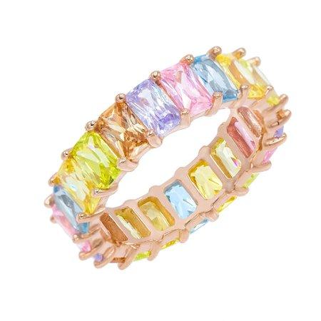 Rose Gold Pastel Rainbow Ring   Adina's Jewels