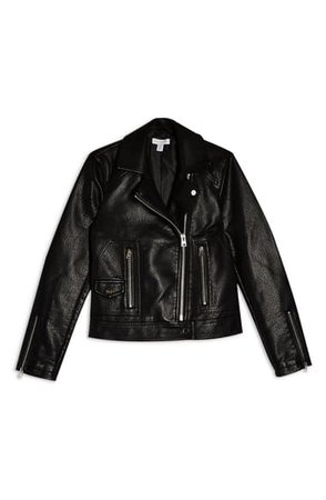 Topshop Teddy Faux Leather Biker Jacket (Regular & Petite) | Nordstrom