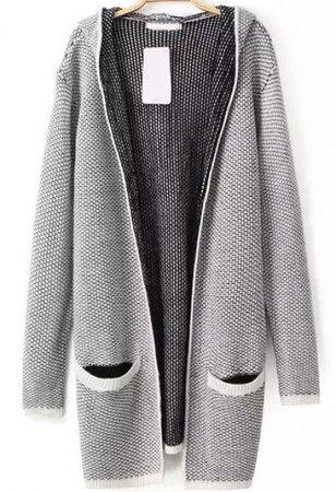 Black Hooded Long Sleeve Pockets Knit Sweater