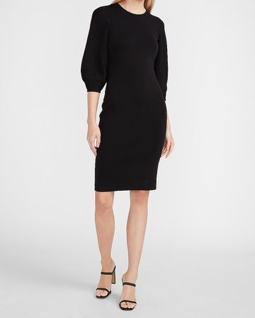 Puff Sleeve Midi Sweater Dress