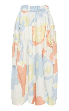 Jeanie Floral-Print Cotton-Poplin Midi Skirt by LEE MATHEWS | Moda Operandi