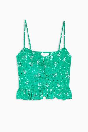 Green Floral Print Peplum Cami | Topshop