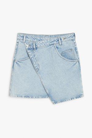 Asymmetric denim mini skirt - Light blue - Mini skirts - Monki GB