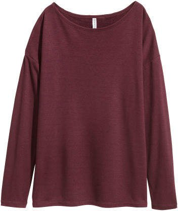 Long-sleeved Jersey Top - Red