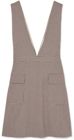 Checked Woven Mini Dress - Beige