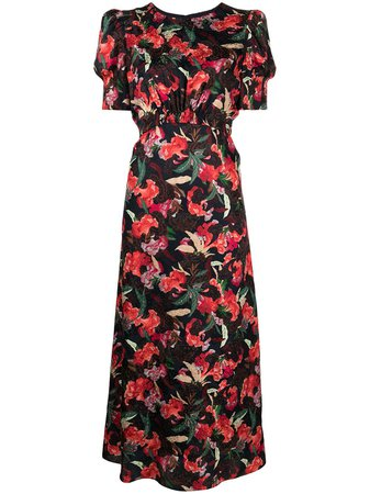 Saloni floral-print short-sleeve Dress - Farfetch