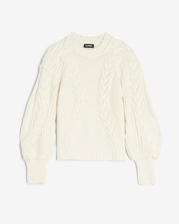 Cable Knit Balloon Sleeve Sweater | Express