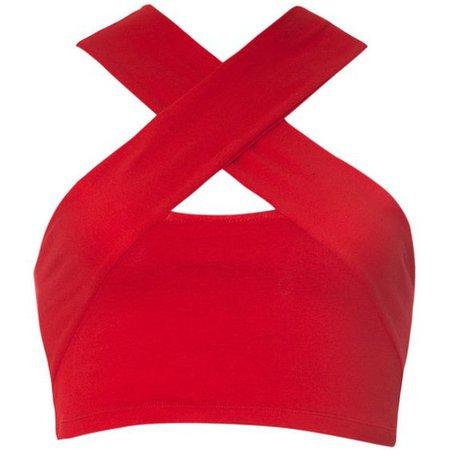 Motel Devi Halter Neck Crop Top in Red