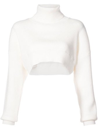 white turtleneck cropped sweater