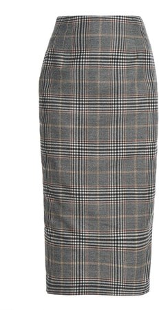 Roland Mouret Hoyle Checked Wool-Blend Skirt