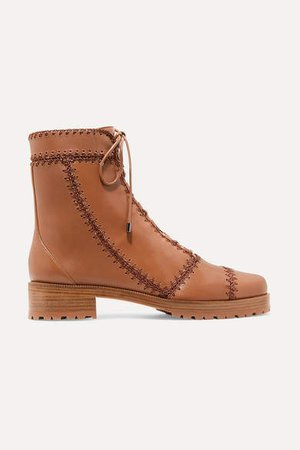 Whipstitched Leather Ankle Boots - Tan