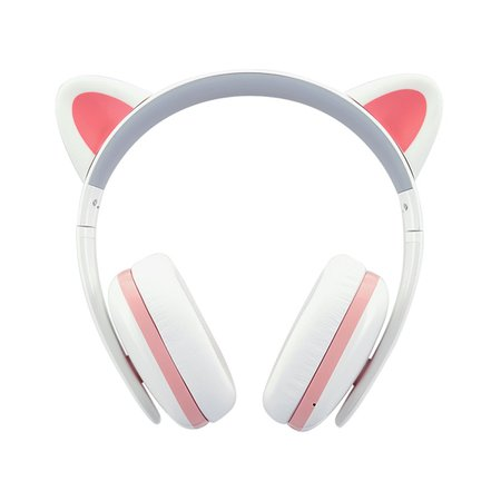 Cat Ear Headphones for Girls - Censi Cat headphones Wireless Over Ear Bluetooth Headsets with Mic for Girlfriend, Wife, Women, Kids, Valentines Day Gifts for Her (White+Pink, Bluetooth)
