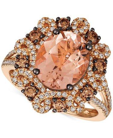 Le Vian Chocolatier Peach Morganite & Diamond 14k Rose Gold Ring