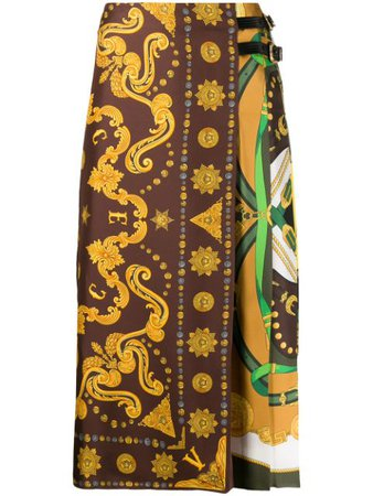Versace Scarf-Style Print Midi Skirt A85363A233263 Brown | Farfetch