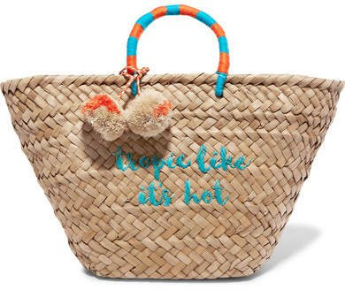 St Tropez Pompom-embellished Embroidered Woven Straw Tote - Turquoise