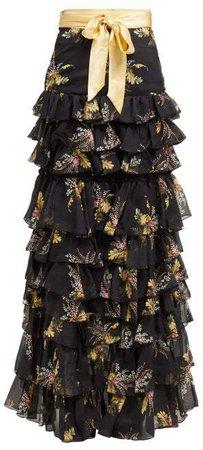 Floral Print Ruffled Silk Blend Skirt - Womens - Black Multi
