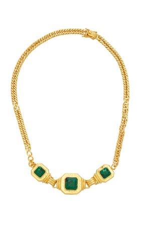 24k Gold-Plated Malachite Brandi Necklace By Valére | Moda Operandi