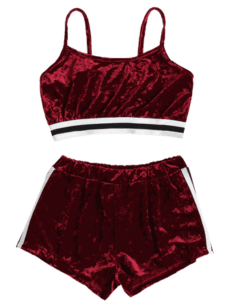 [HOT] 2019 Side Stripe Velvet Top Shorts Matching Set In RED WINE S | ZAFUL