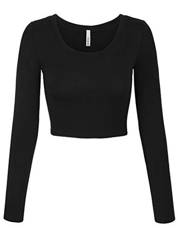 KOGMO Womens Long Sleeve Basic Crop Top Round Neck with Stretch at Amazon Women's Clothing store: