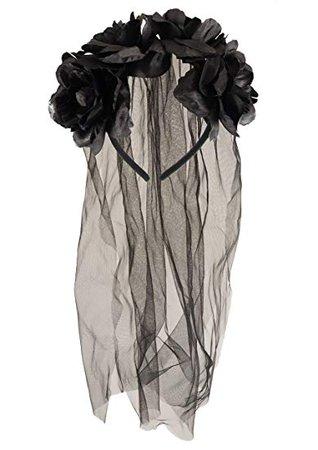 Amazon.com: Adult Halloween Zombie Bride Black Veil With Flowers Fancy Dress Accessory: Clothing