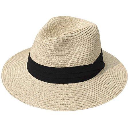 Lanzom Women Wide Brim Straw Panama Roll up Hat Fedora Beach Sun Hat UPF50+ (Khaki) One Size at Amazon Women's Clothing store