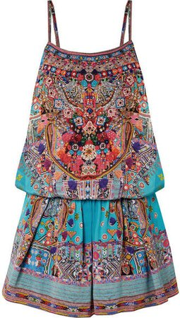 The Long Way Home Embellished Silk Crepe De Chine Playsuit - Turquoise
