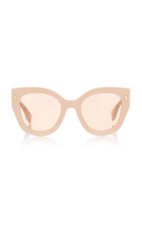 Logo-Lens Round-Frame Acetate Sunglasses By Fendi | Moda Operandi