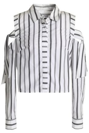 Riley cold-shoulder striped cotton-poplin shirt   MILLY   Sale up to 70% off   THE OUTNET