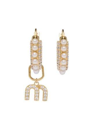 Miu Miu Miu Pearl Hoop Earrings - Farfetch