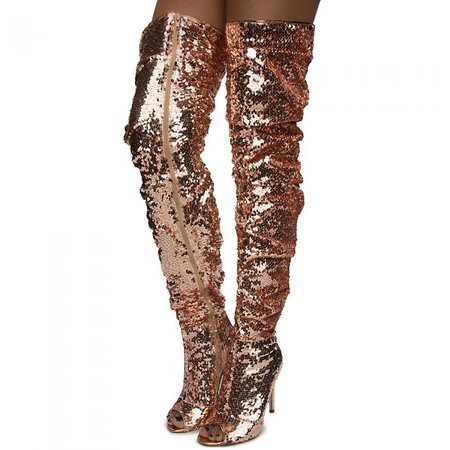 Women's Emelia-10 Over The Knee Boot ROSE GOLD SEQUIN - Thigh High Boots - Boots - Fashion Shoes - Shoes - Women