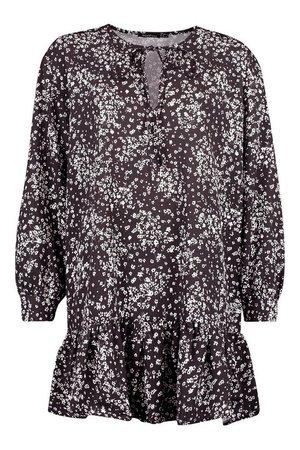 Ditsy Floral Tie Neck Shift Dress | Boohoo black