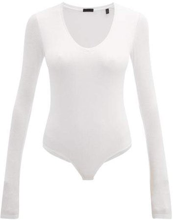 Atm - Ribbed Scoop Neck Bodysuit - Womens - White