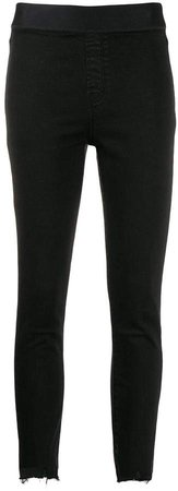 cropped distressed denim leggings