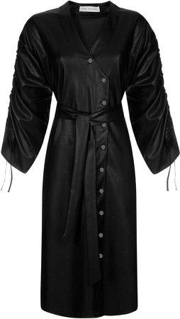 Mykke Hofmann Kry Belted Faux Leather Button-Front Midi Dress
