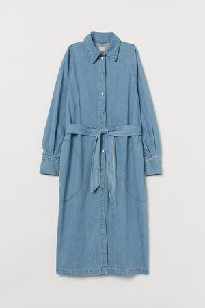 Tie-Belt Denim Dress - Blue