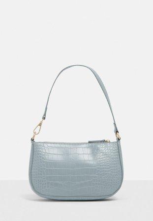 Blue Faux Leather Croc Shoulder Bag   Missguided