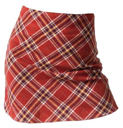 Red Brown Plaid Skirt