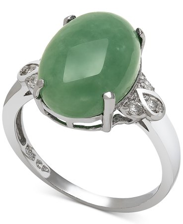 Macy's Sterling Silver Dyed Jade & Diamond Ring
