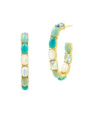 Freida Rothman Multi-Stone & Mother-of-Pearl Open Hoop Earrings